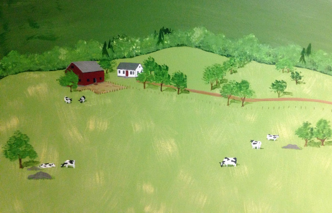 Mural of a red barn and a white farmhouse in a big field near some cows.