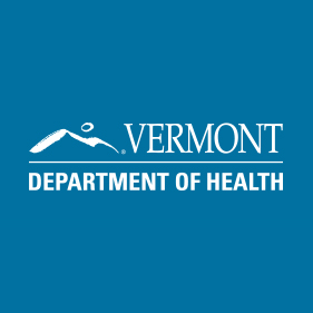 Vermont Department of Health written in white letters on a blue background next to a logo of a mountain.