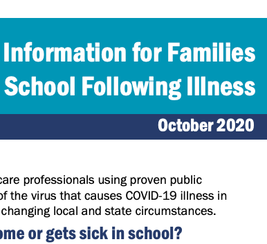 Information for Familes, School Following Illness, October 2020